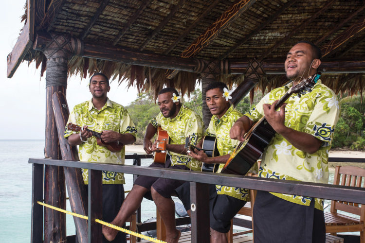 Welcoming locals in Fiji durin=g Silversea EXpedition cruise